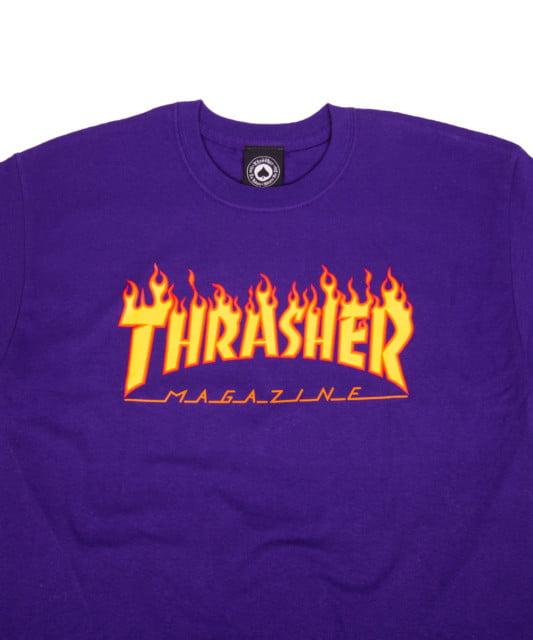 T-shirt Thrasher Flame Logo purple